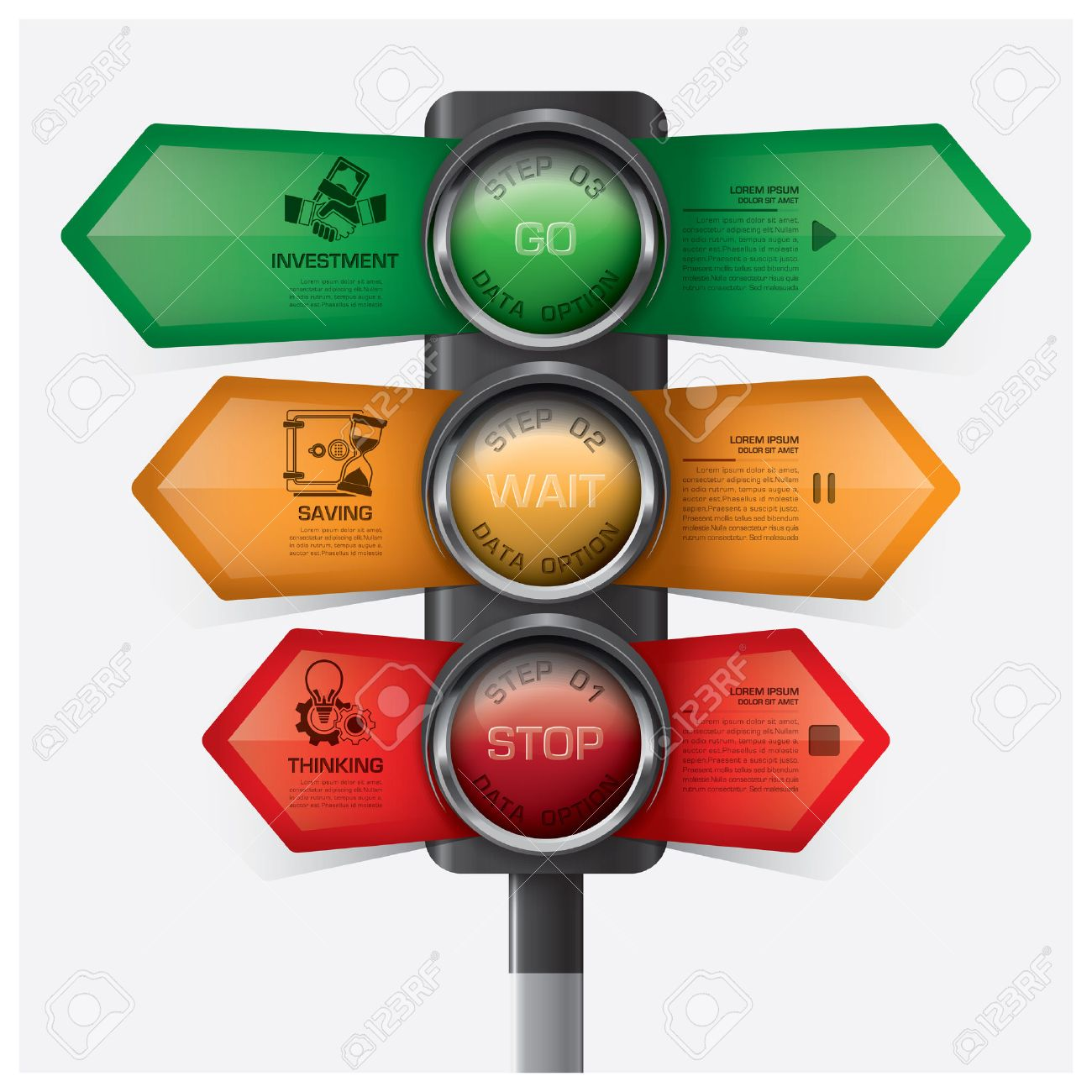 business and financial with traffic light sign infographic diagram
