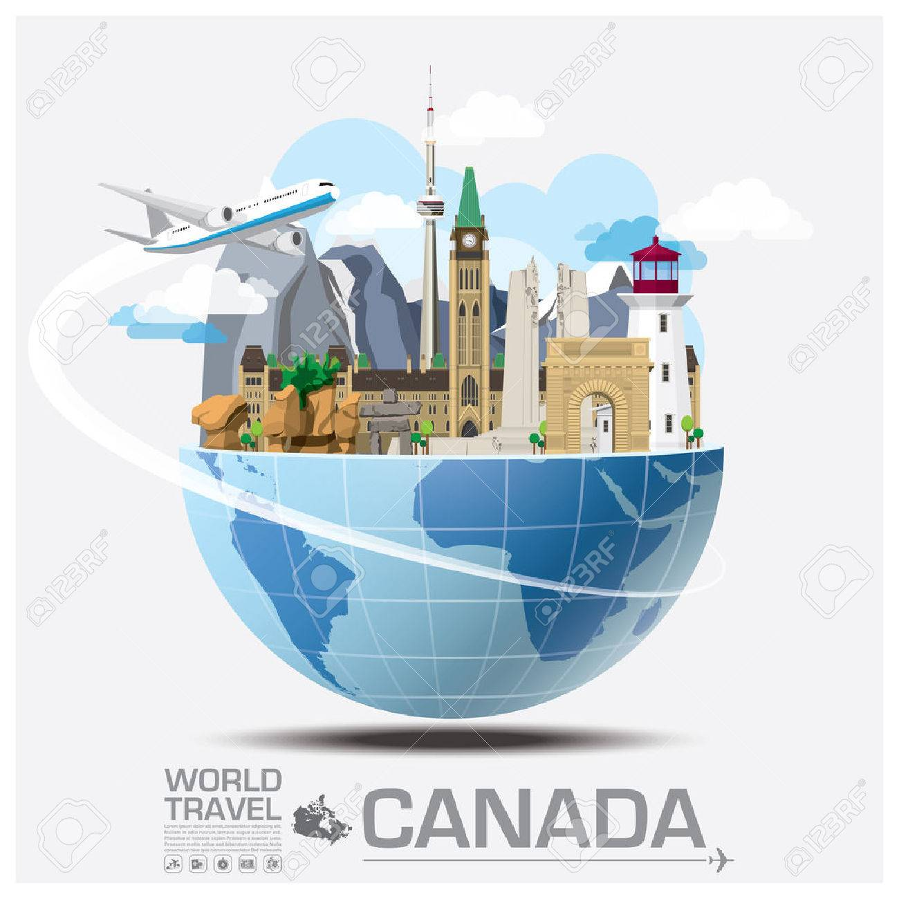 Canada Landmark Global Travel And Journey Infographic Vector Design Template Stock Vector - 47164996