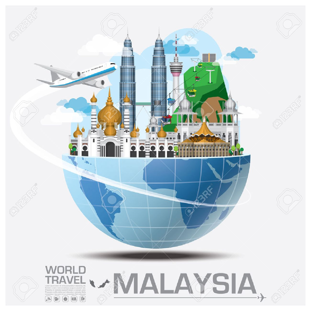 Malaysia Landmark Global Travel And Journey Infographic Vector Design Template Stock Vector - 47165098