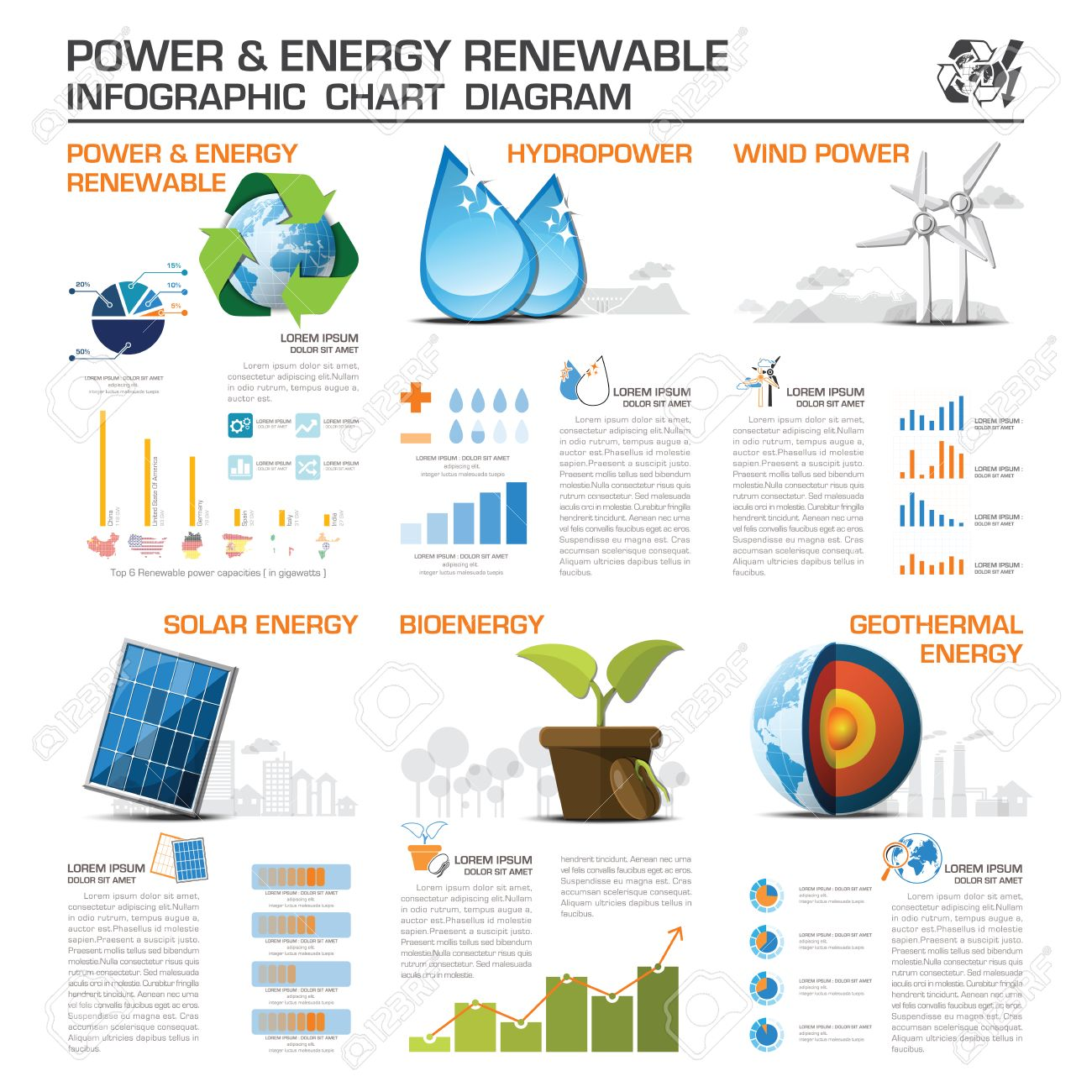Power And Energy Renewable Infographic Chart Diagram Vector Design Template - 52418303