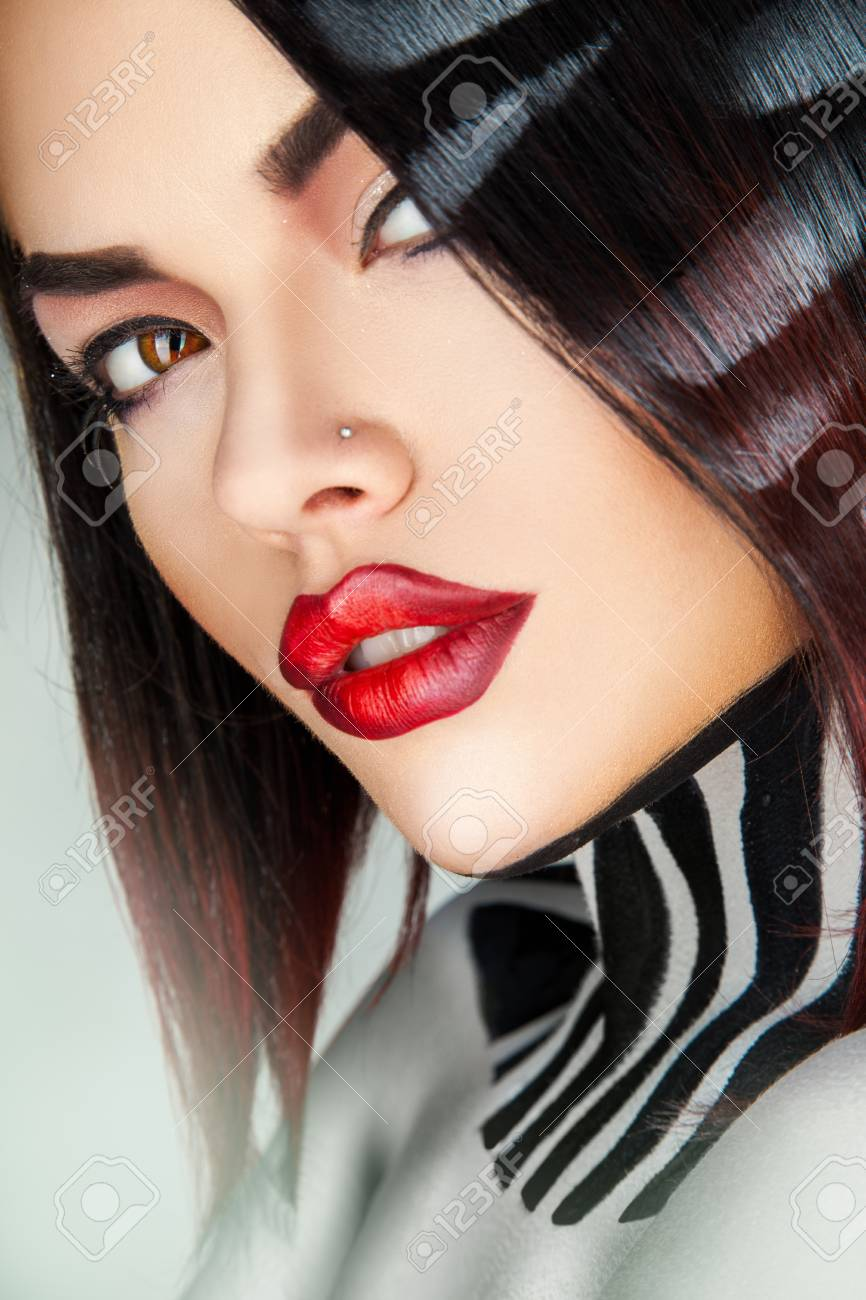 Close up portrait of sexy fashion model in studio on gray background Stock Photo - 24743707