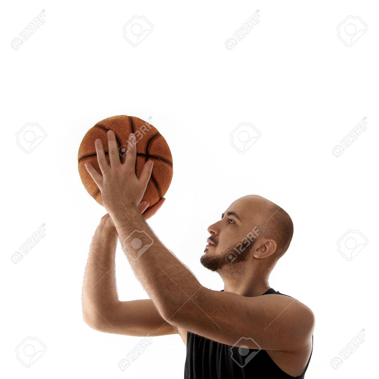 basketball player shooting free throw on white background