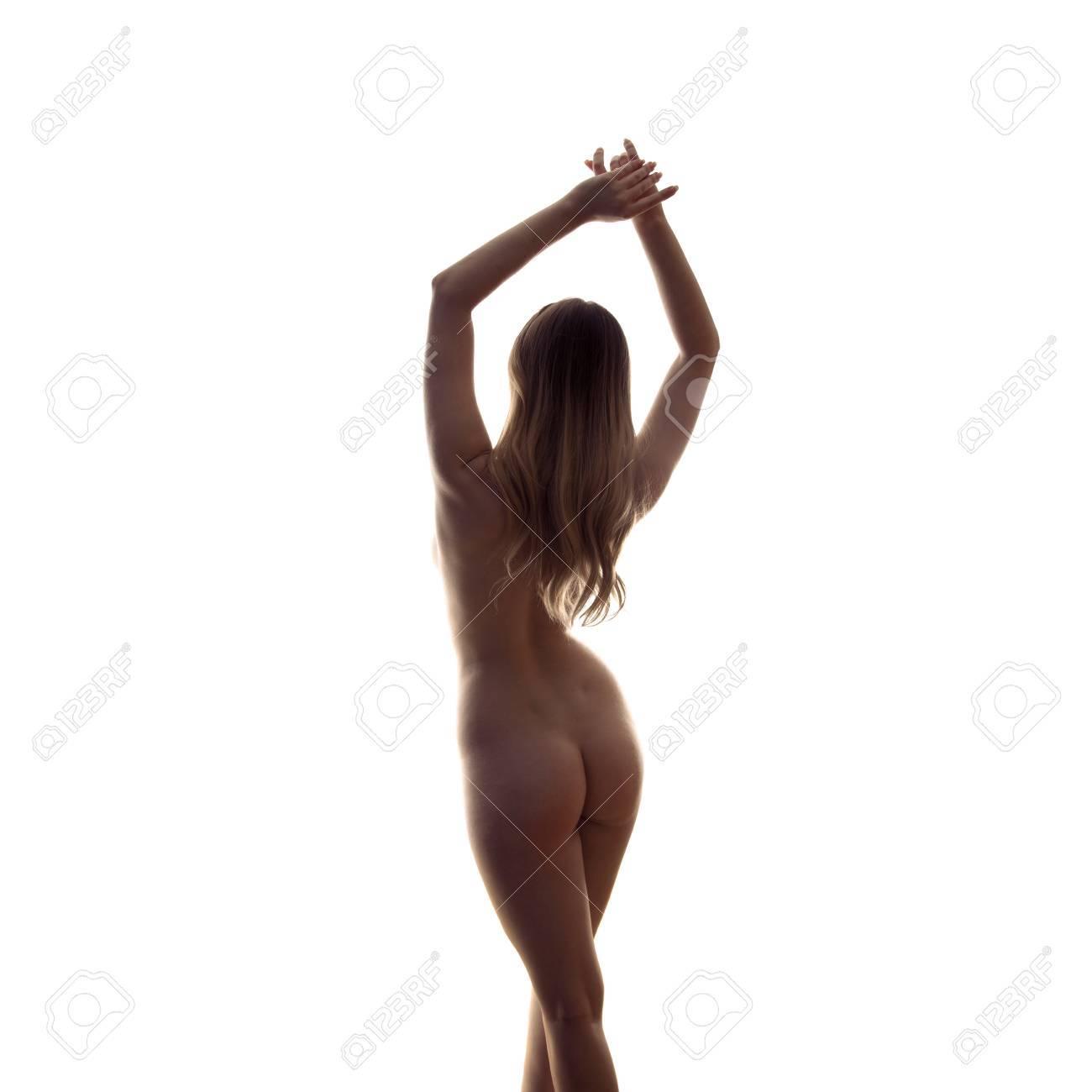 ba69fe2ab900 Silueta De La Mujer Sexual Desde Atrás Sin Ropa Aislada En El Fondo ...