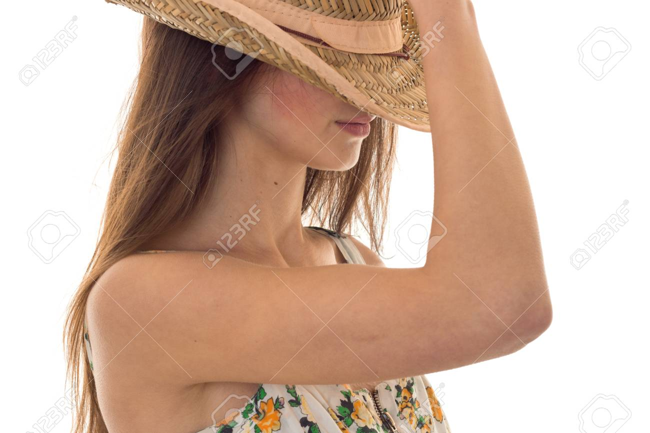 540cb33e22b Portrait of a young girl with long hair that covered her face summer Hat  close-