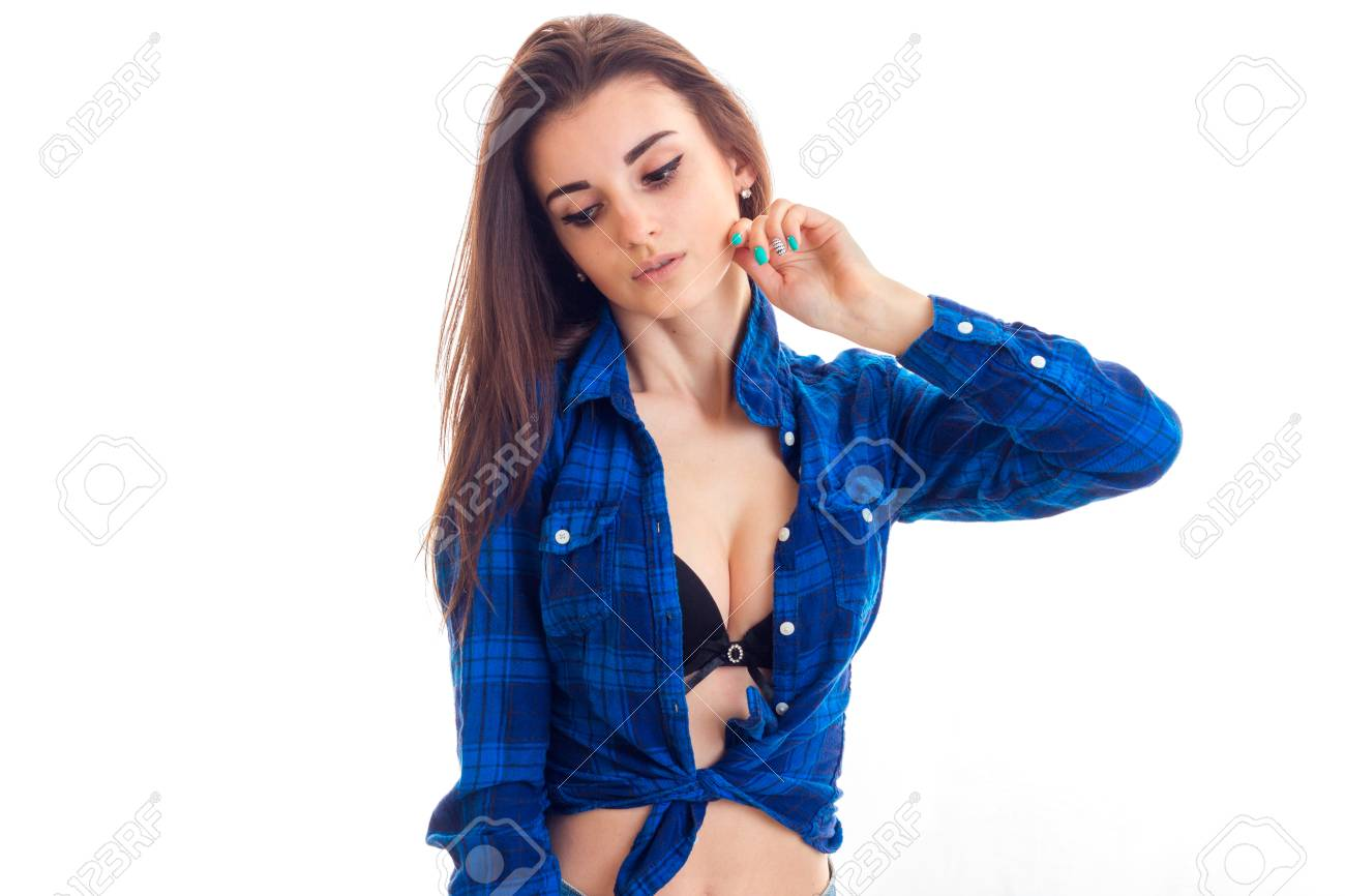 fd95ff7deb3 young sexy girl with bare breasts in blue shirt raised her hand..