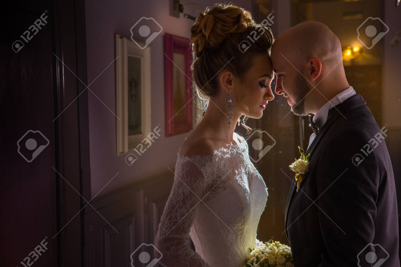 portrait of charming young jsut merried couple stock photo picture