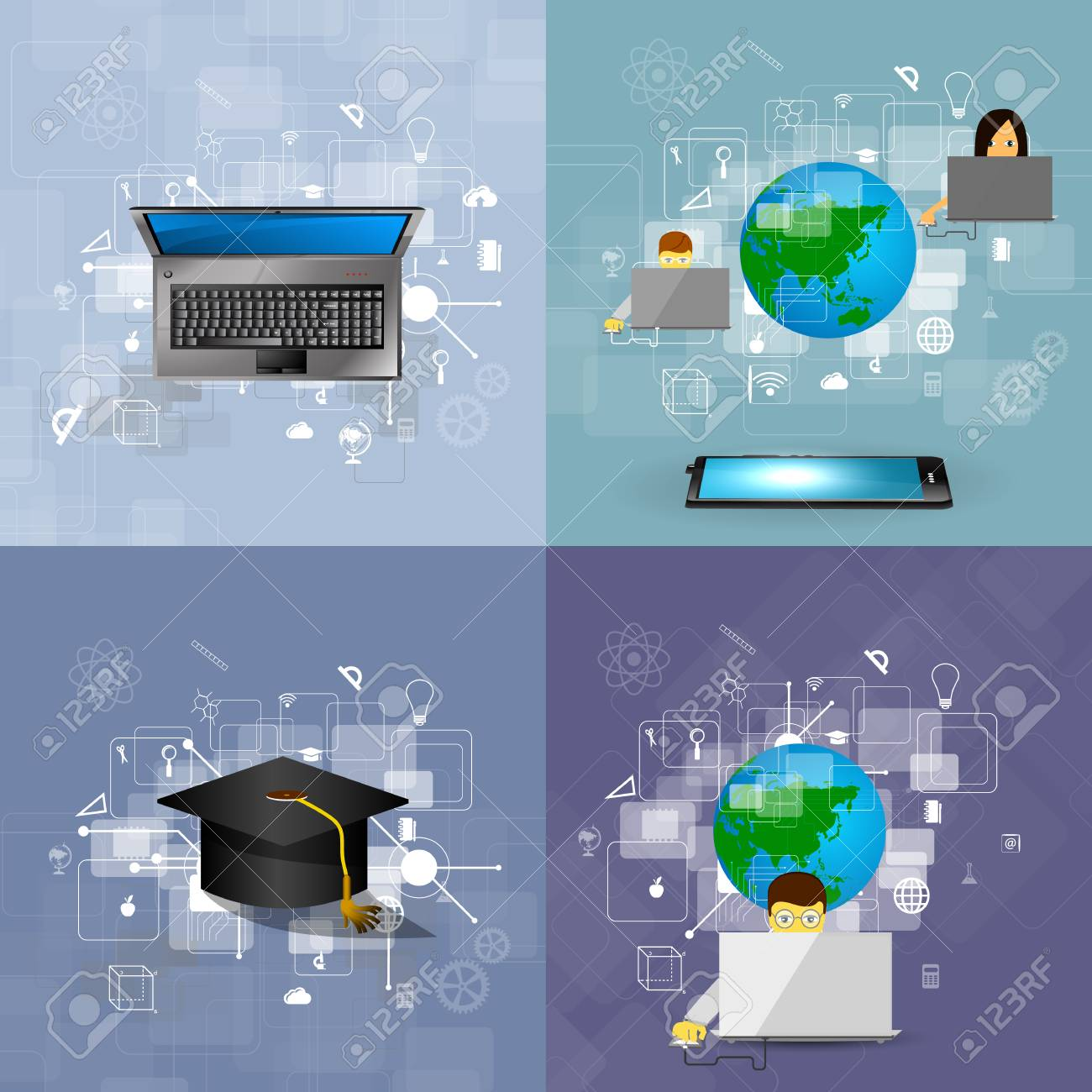 Education, Online Learning And Tree Of Knowledge Icons In Flat ...