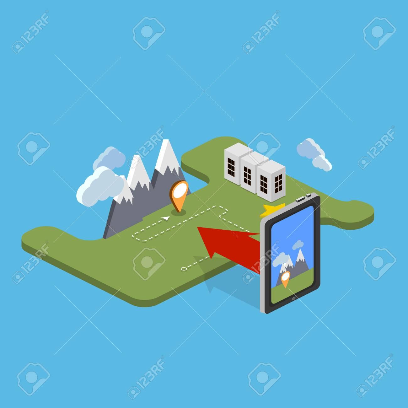 Camping Voyage Vacances Actives En Plein Air Plat 3d Isométrique Pixel Art Concept De Design Moderne