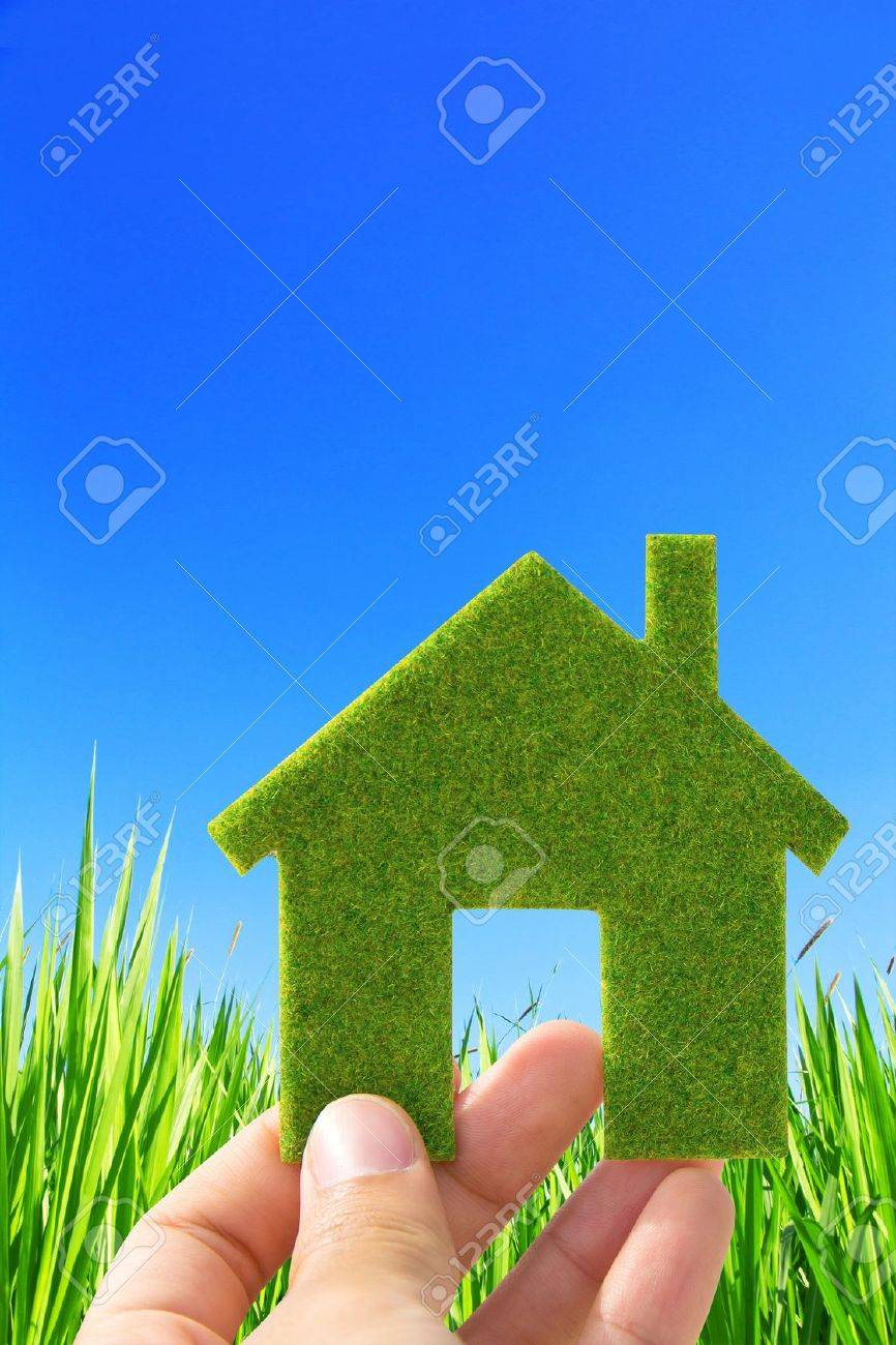 hand holding eco house icon concept Stock Photo - 12065838