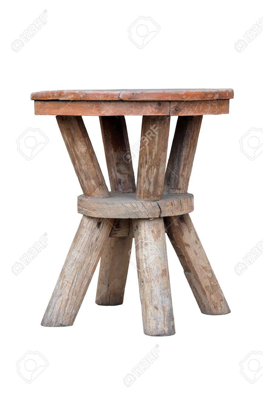 Old wooden stool isolated on white background - 20173057