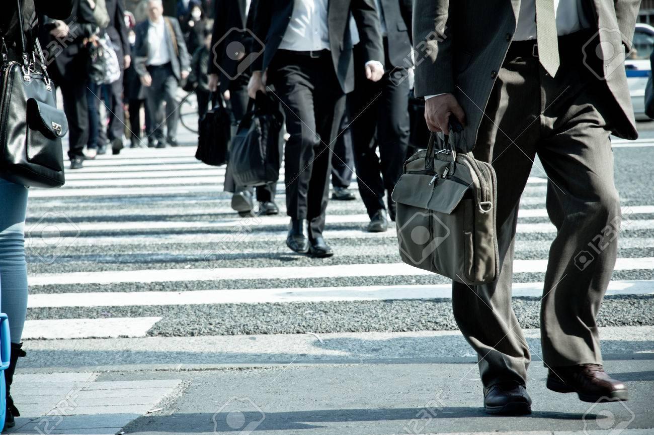 People commuting in rush hour at zebra crossing,Tokyo japan - 28854493