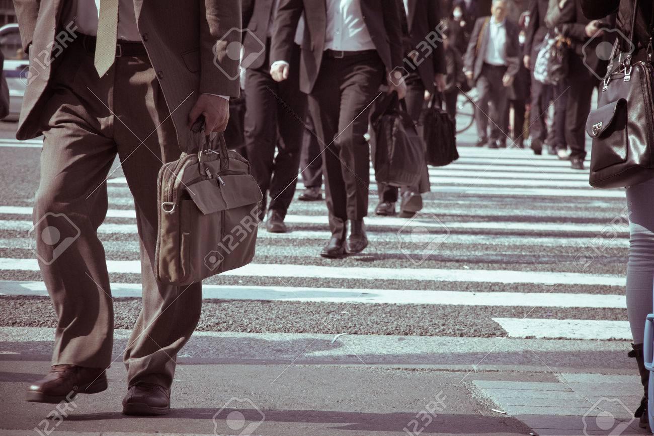 People commuting in rush hour at zebra crossing,Tokyo japan - 28854494