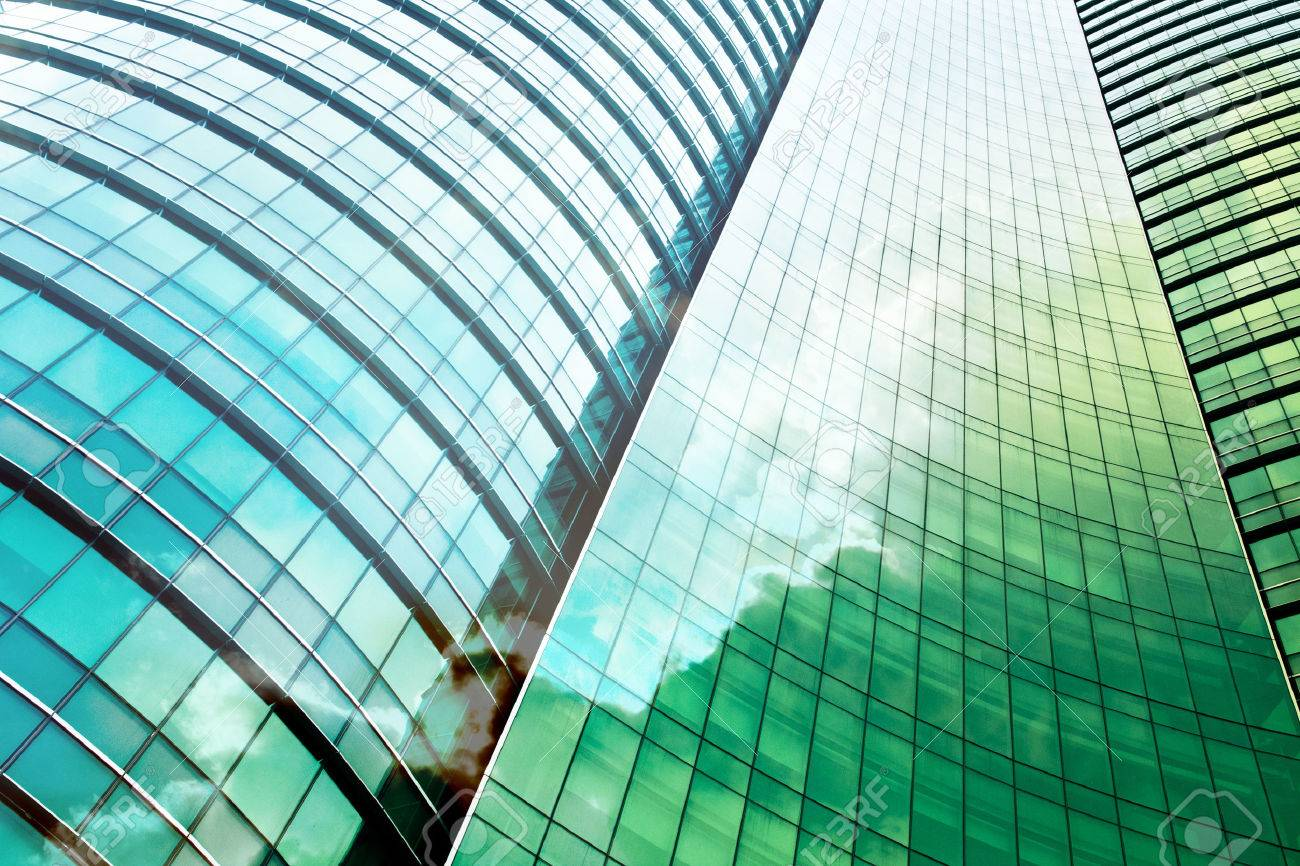 double exposure of modern office building - 44588076