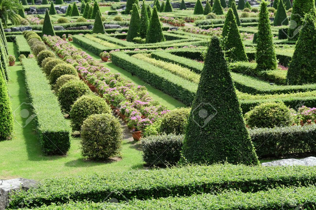Garden Path With Topiary Landscape Stock Photo Picture And