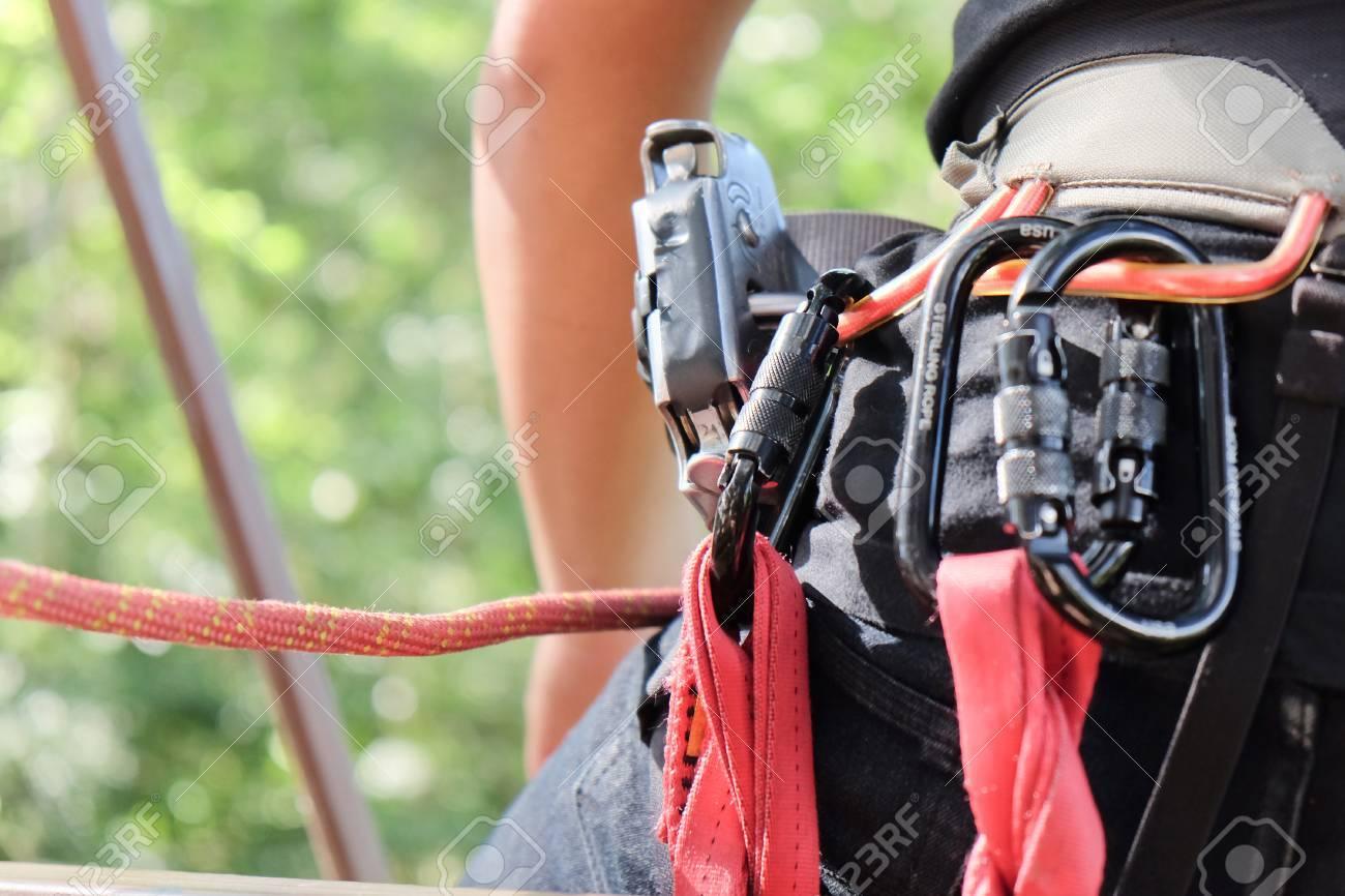 Kletterausrüstung : Kletterausrüstung hautnah u stockfoto ponsulak