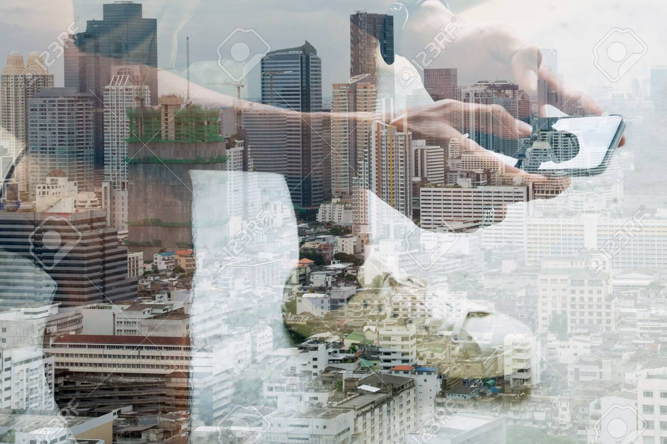 Double exposure image of people with smart phone and cityscape,communication technology concept - 54198165