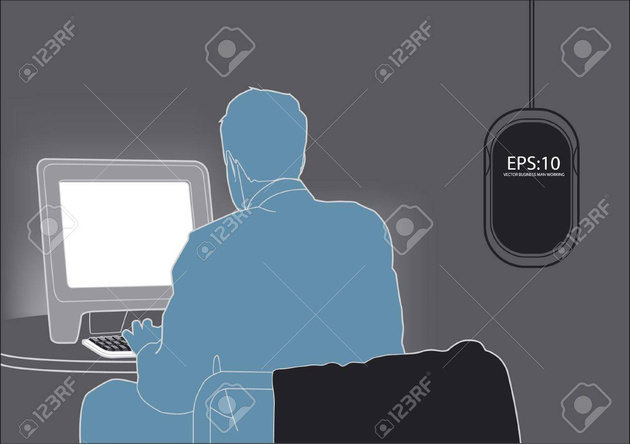 businessman working with computer Stock Vector - 11422883