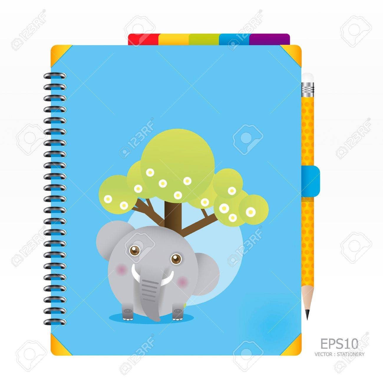 note book blue color with pencil Stock Vector - 11422980