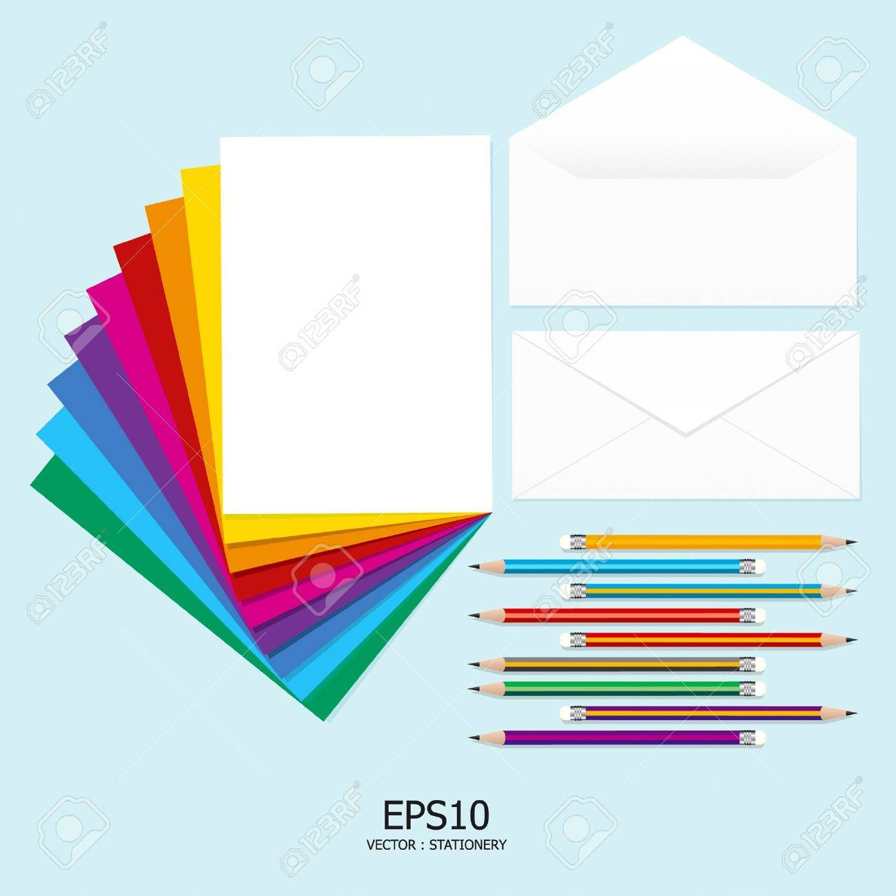 note paper fullcolor  with pencil and letter Stock Vector - 11422944