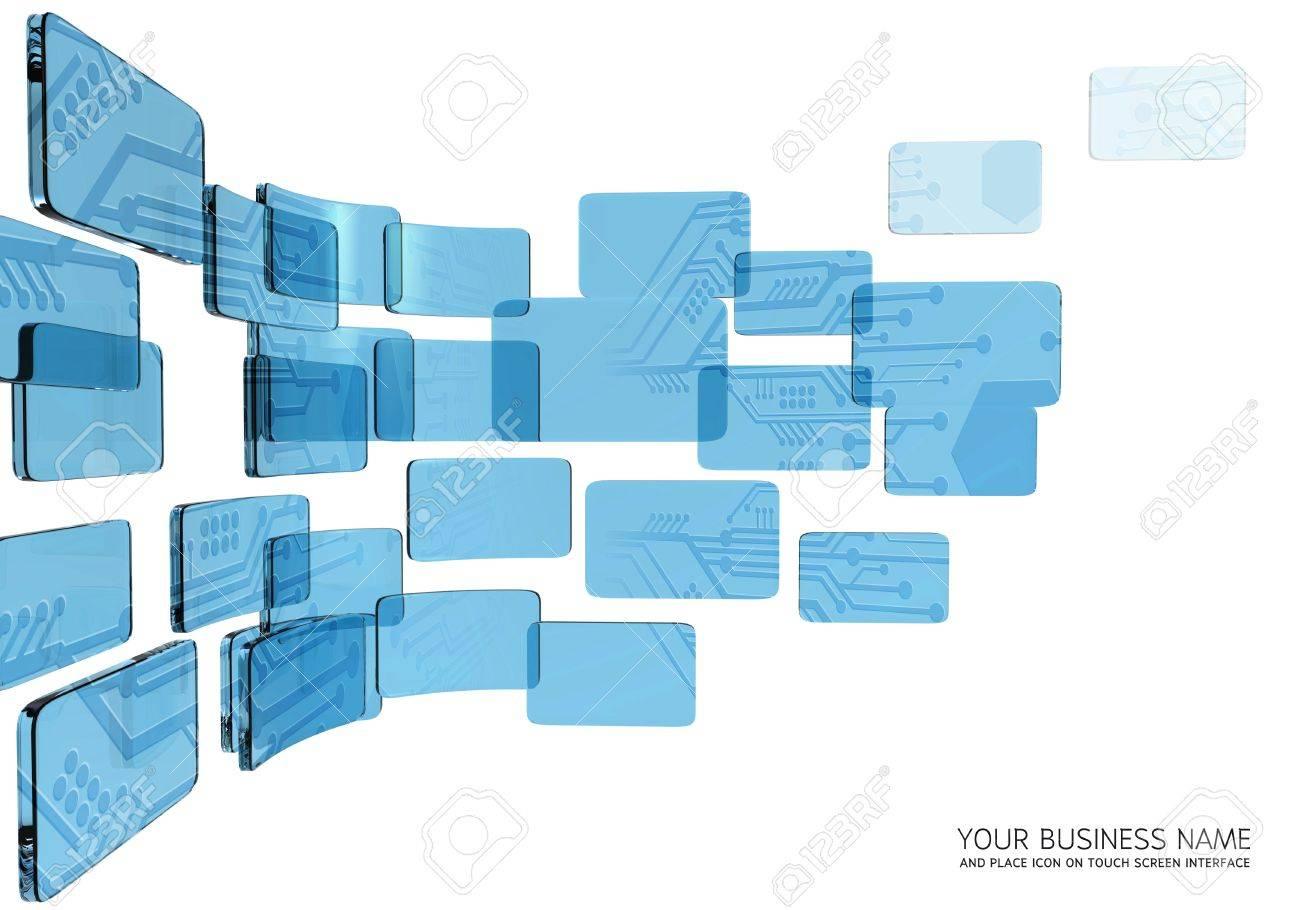 circuit  interface blue glass Stock Photo - 11657803