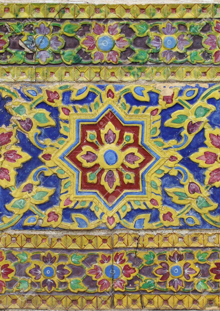 Tile Art On The Temple Wall Wat Thailand Stock Photo, Picture And ...