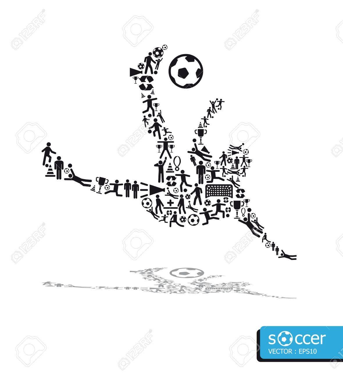 icons sports concept soccer shoot Stock Vector - 14835418