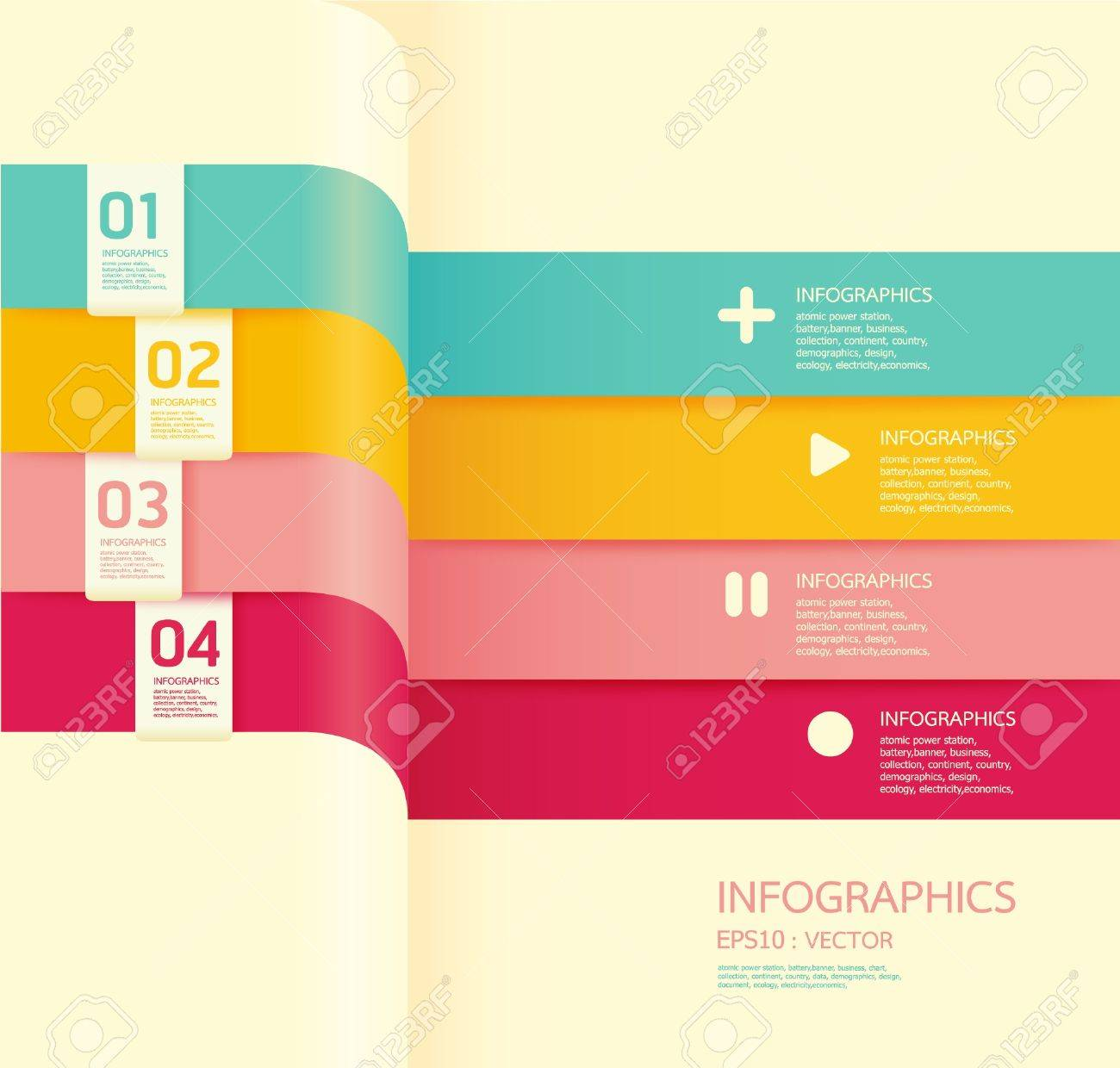 Modern colors web design - Modern Soft Color Design Template Can Be Used For Infographics Numbered Banners Horizontal Cutout Lines Graphic