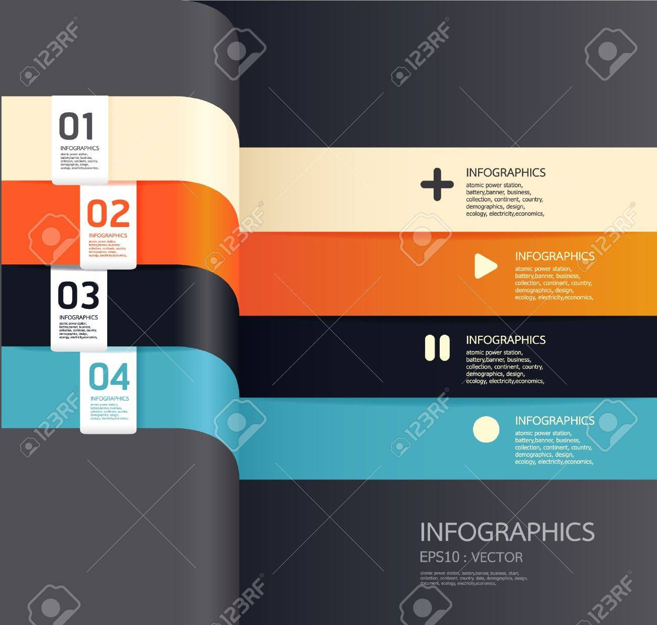 Modern   Design template    can be used for infographics   numbered banners   horizontal cutout lines   graphic or website layout vector Stock Vector - 15306751