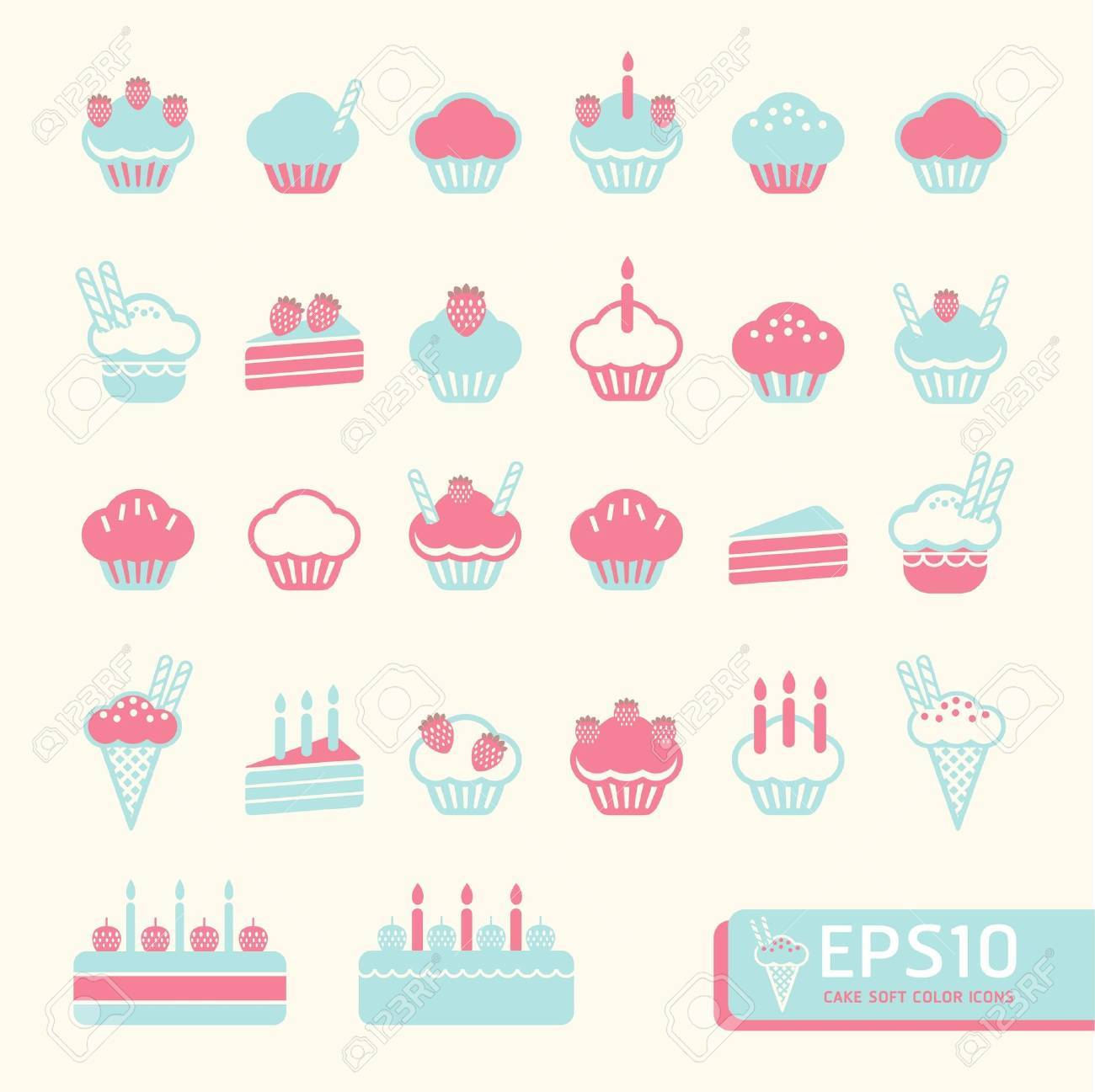 cup cake soft color   Vector illustration Stock Vector - 15534189