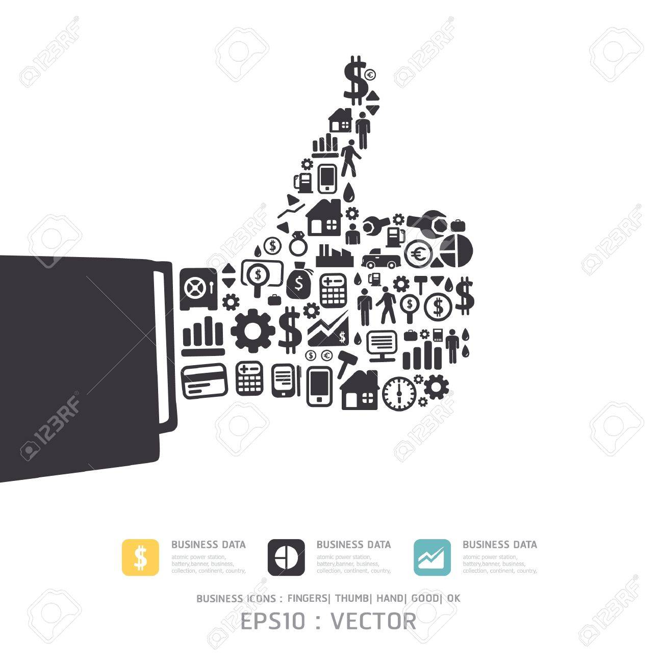 Elements are small icons Finance make in fingers shape good  ok  Vector illustration Stock Vector - 15534192