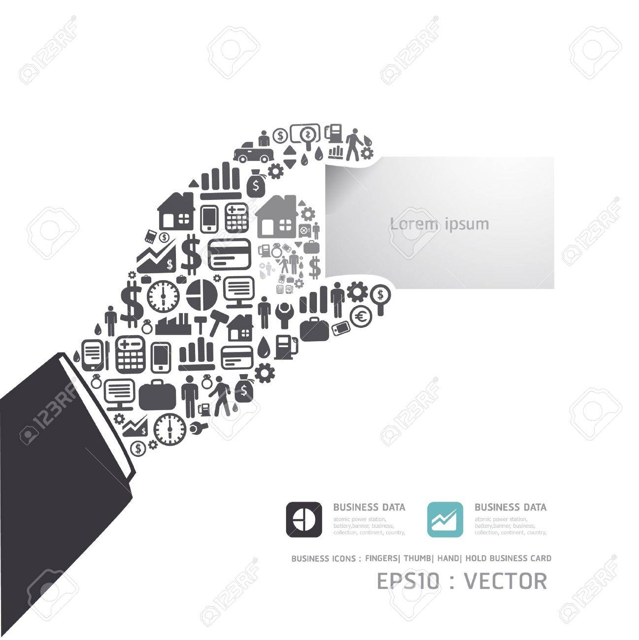 Elements are small icons Finance make in hand hold business card shape concept  Vector illustration Stock Vector - 15534194