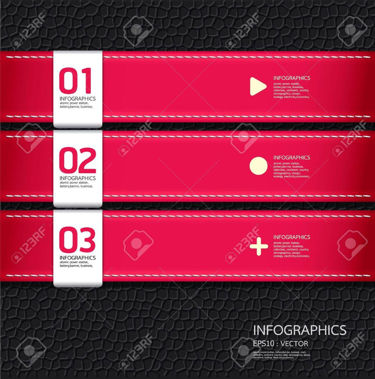 Leather pink color Design template    can be used for infographics   numbered banners   horizontal cutout lines   graphic or website layout vector Stock Vector - 15534087