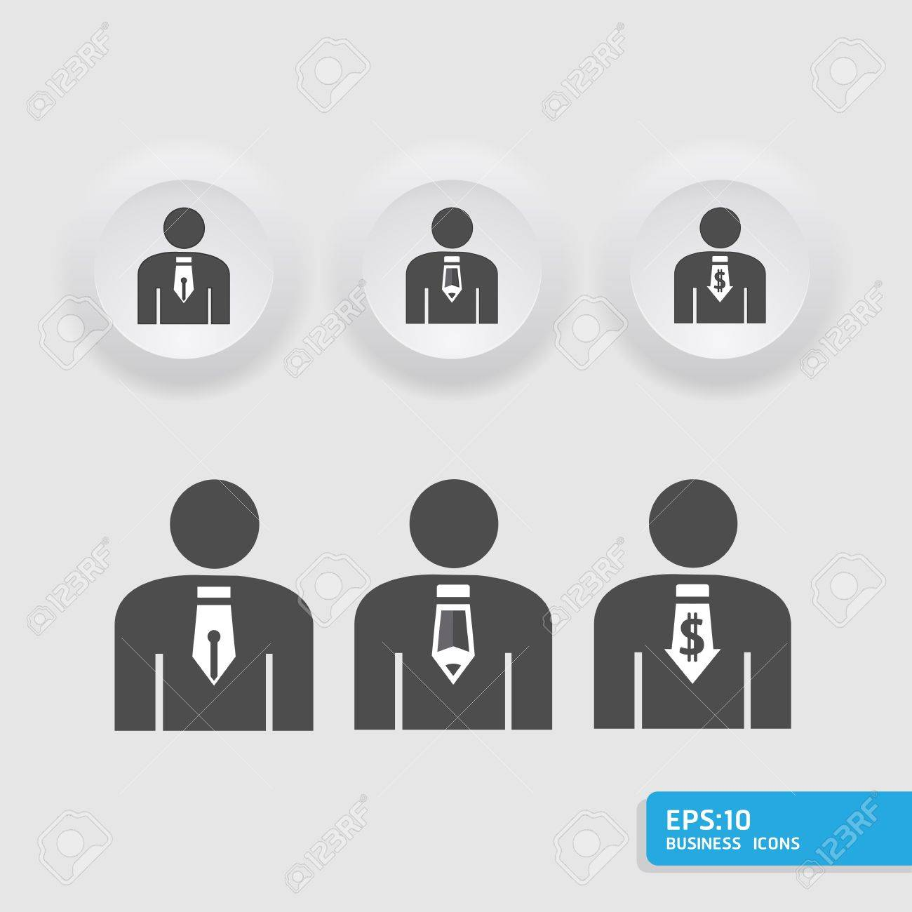 business man icon set in black color button frame     can be used for infographics  graphic or website button layout Stock Vector - 15661894