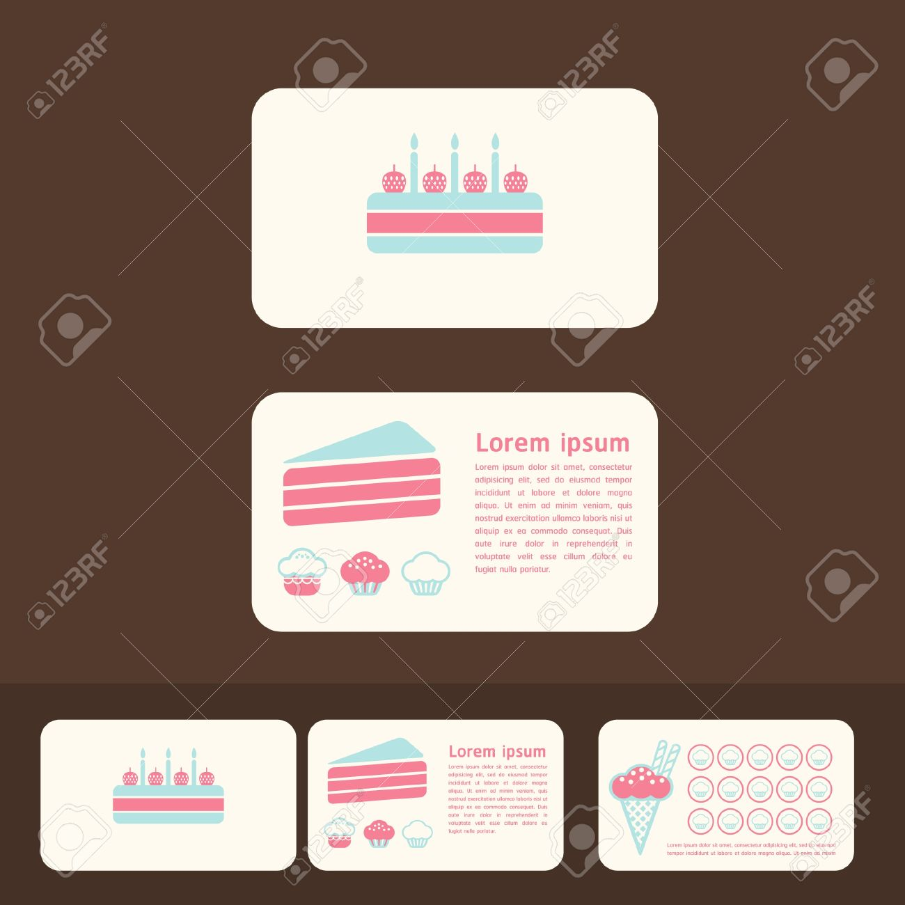 Collection of cakes business cards discount and promotional collection of cakes business cards discount and promotional cards stock vector 15661893 colourmoves Choice Image