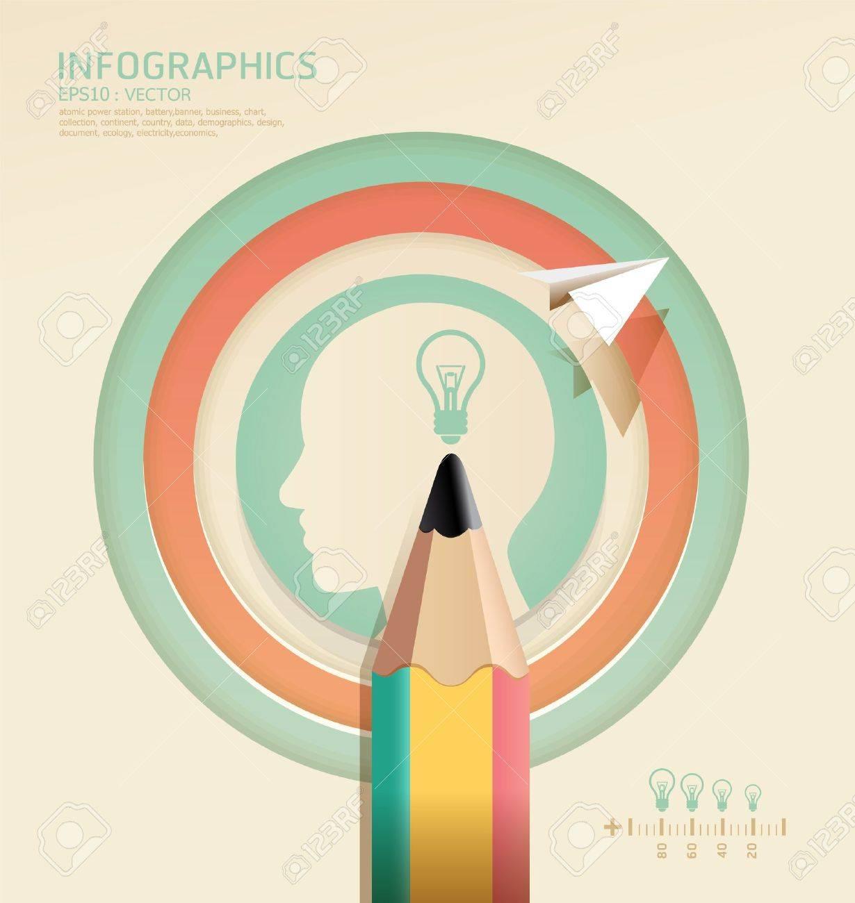 Infografía Creative Lápiz Concepto Plantilla Ilustración ...