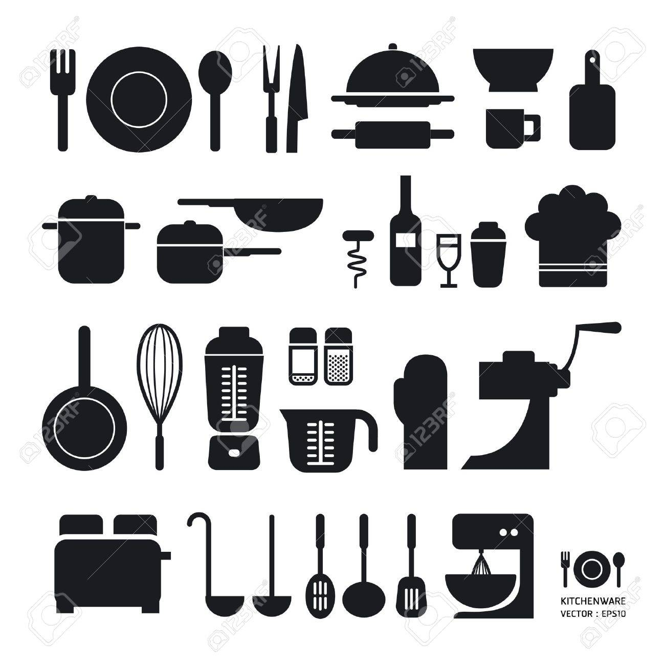 Attractive Kitchen Timer: Kitchen Tool Icons Collection Can Be Used For Infographics  Graphic Or Website Layout Part 17