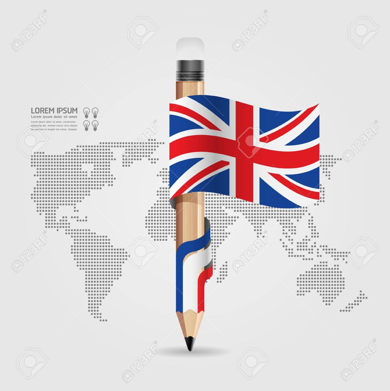 Creative Template with pencil flag banner    can be used for infographics   banners   concept vector illustration Stock Vector - 20138485