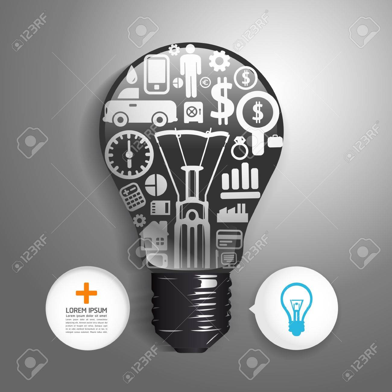 Elements are small icons Finance make  light bulb think concept Stock Vector - 20743856