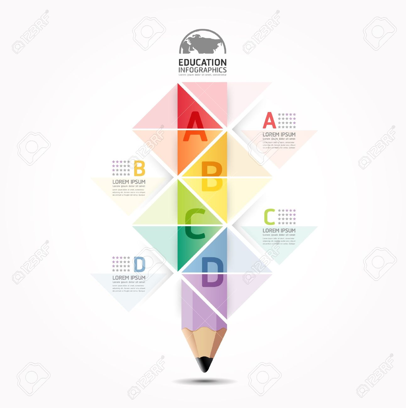Abstract infographic Design Minimal style pencil  template / can be used for infographics / numbered banners / horizontal cutout lines / graphic or website layout vector Stock Vector - 20988450