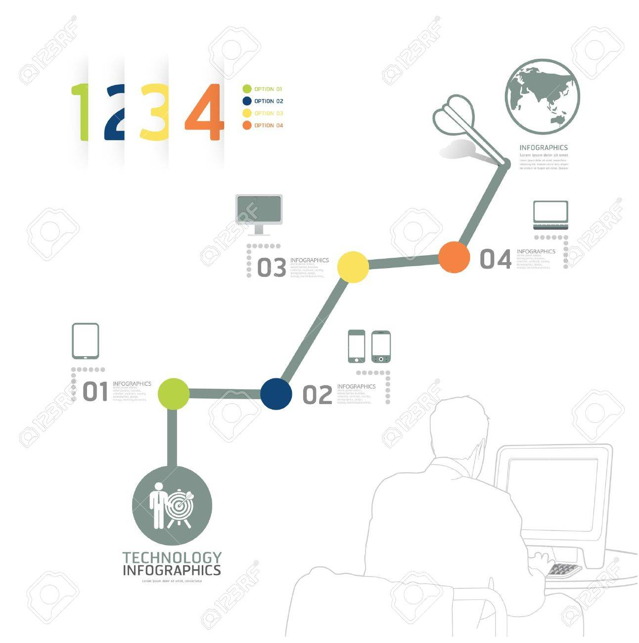 Infographic technology design time line template / can be used for infographics / numbered banners / horizontal cutout lines / graphic or website layout vector Stock Vector - 20988479