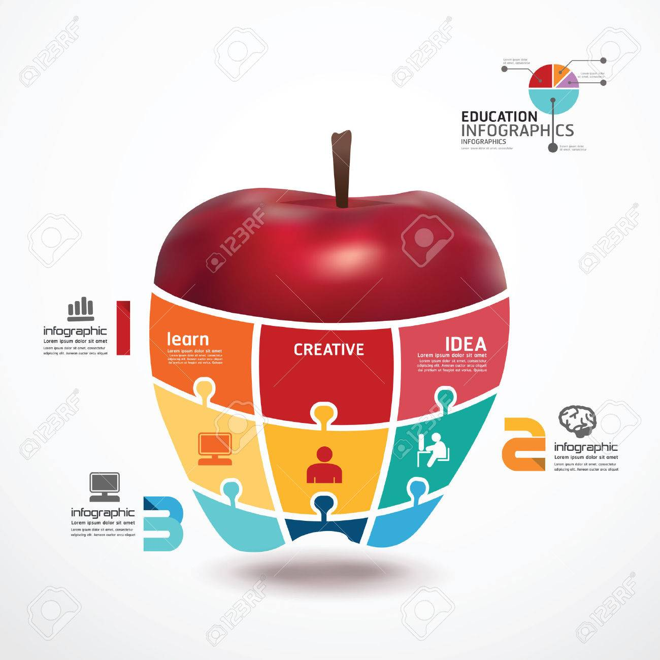 infographic template with apple jigsaw banner concept vector
