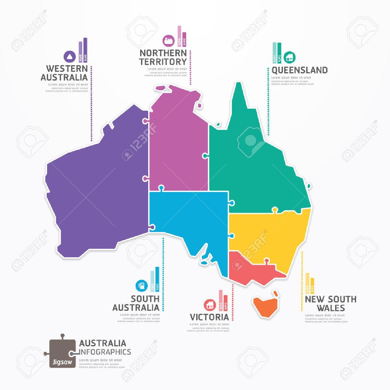 Australia Map Template.Australia Map Infographic Template Jigsaw Concept Banner Vector