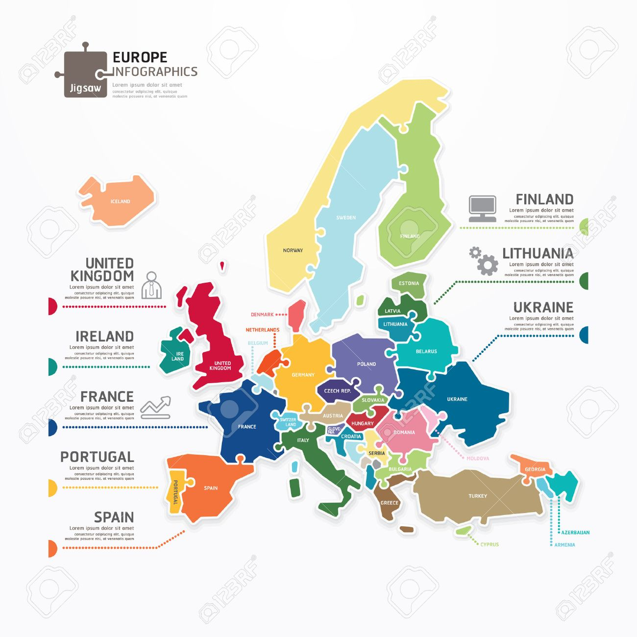 Europe Map Infographic Template Jigsaw Concept Banner Vector