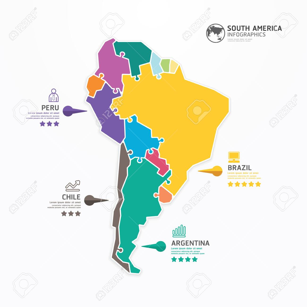 South America Political Map Detailed Map South America Stock - Sur america map