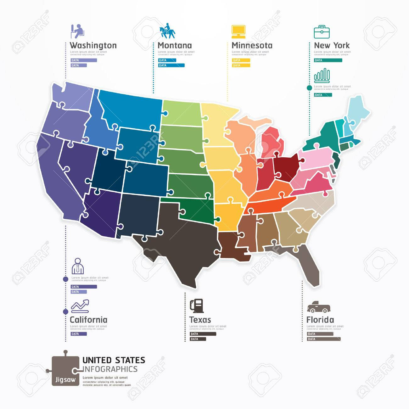 United States Map Infographic Template Jigsaw Concept Banner - Florida map jigsaw puzzle