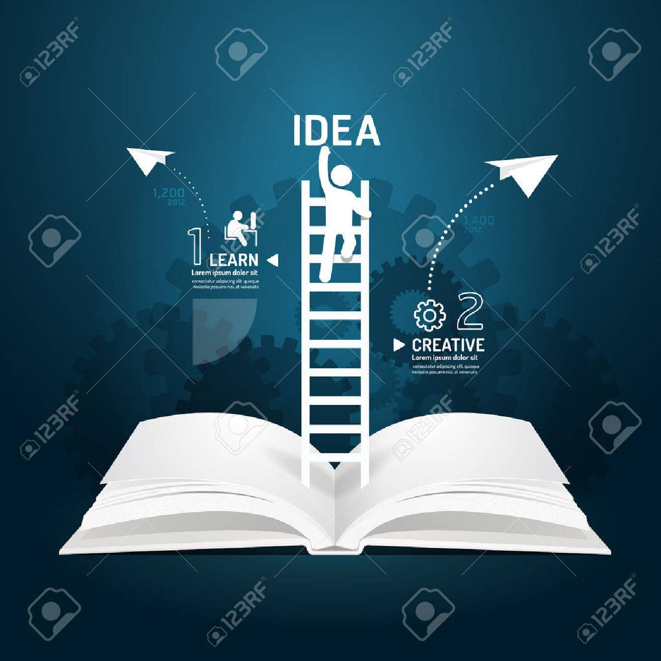 Infographic Climbing Ladder Book Diagram Creative Paper Cut Style ...