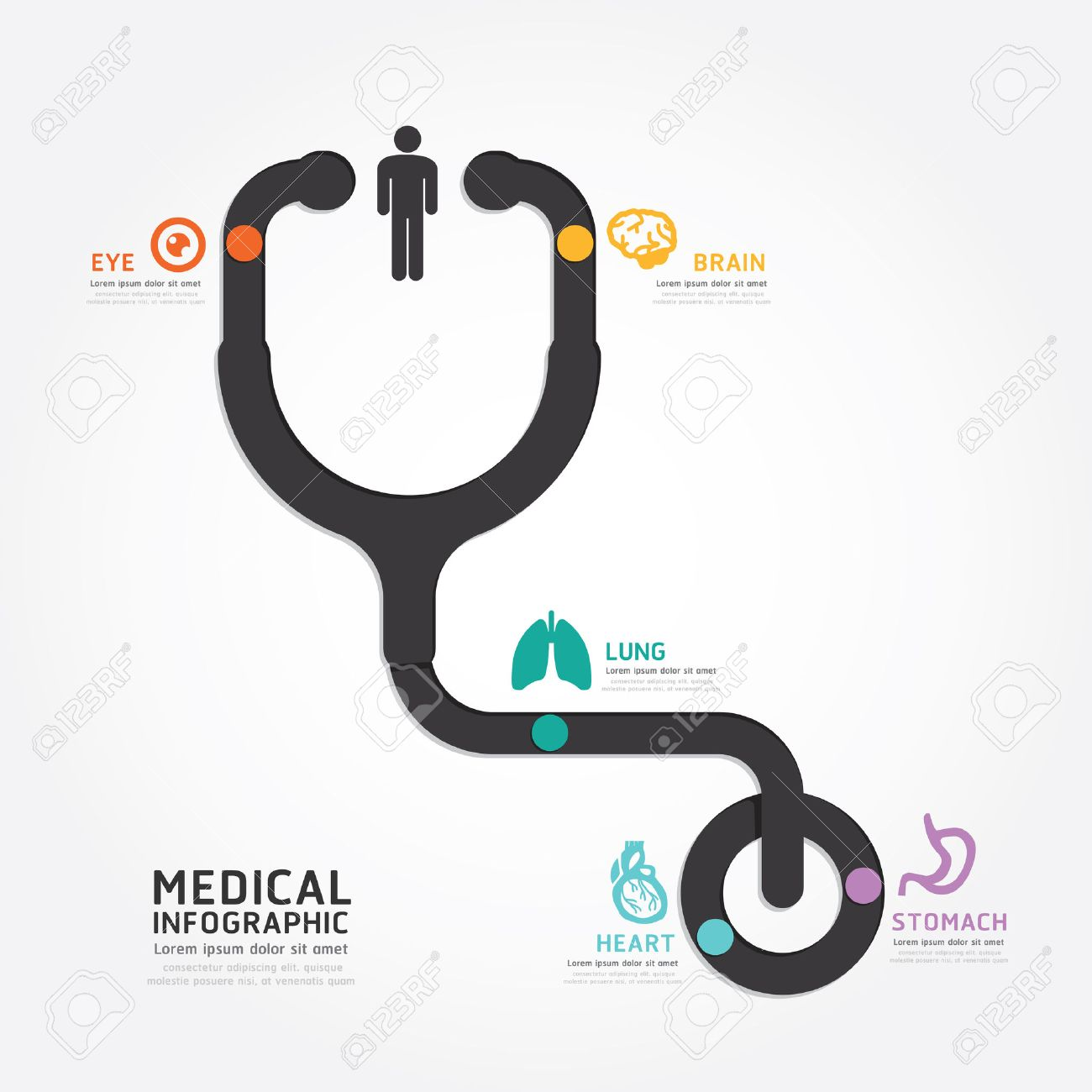 infographics vector medical design stethoscope diagram line style, Powerpoint templates