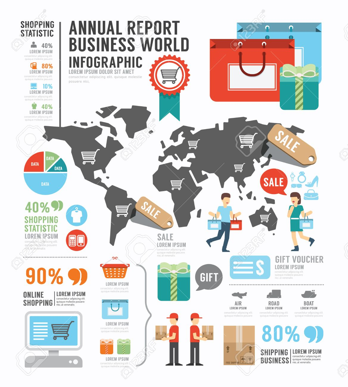 Infographic Annual Report Business World Industry Factory Template – Business Annual Report Template