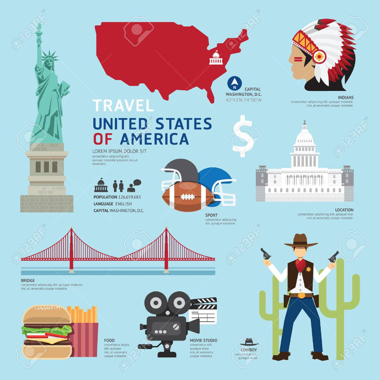 American Landmarks Stock Illustrations Cliparts And Royalty - Usa map landmarks