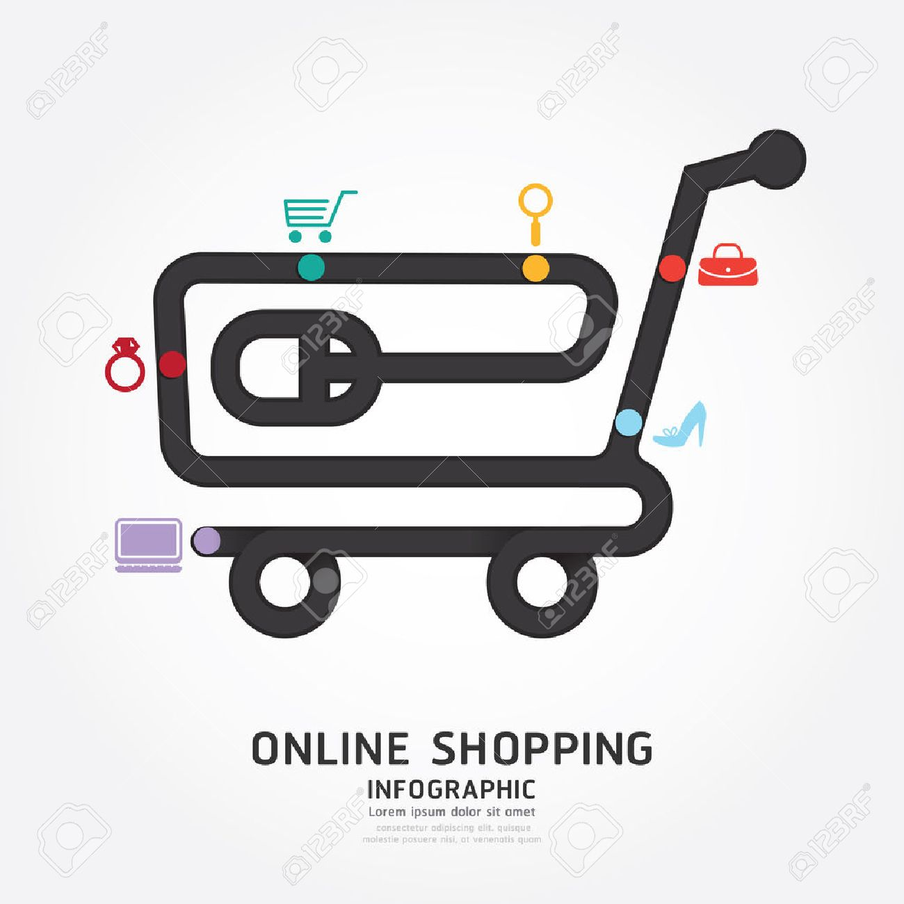 Infographics Vector Online Shopping Design Diagram Line Style Cart Template Stock 35591897